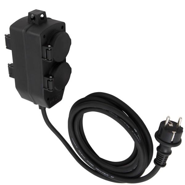 Stromkabel / Verlängerung mit 4-Fach Block - Schutzkontakt - OutdoorIP44 - 3x1,5mm² | 3m Zuleitung