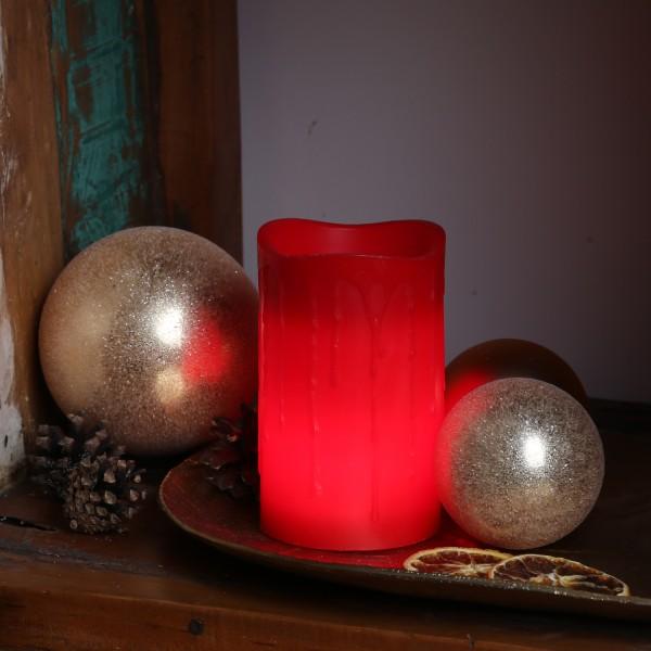 LED Stumpenkerze DRIP - Echtwachs - flackernde LED - Timer - H: 12,5cm - rot