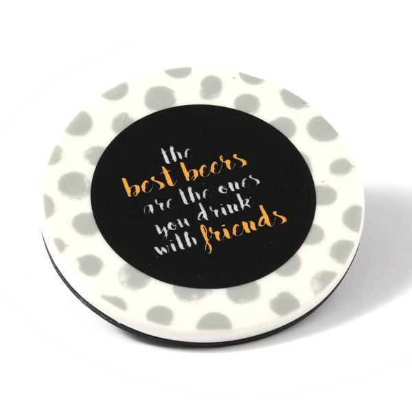 Untersetzer aus Keramik mit FRIENDS Aufschrift - D: 9cm - rund