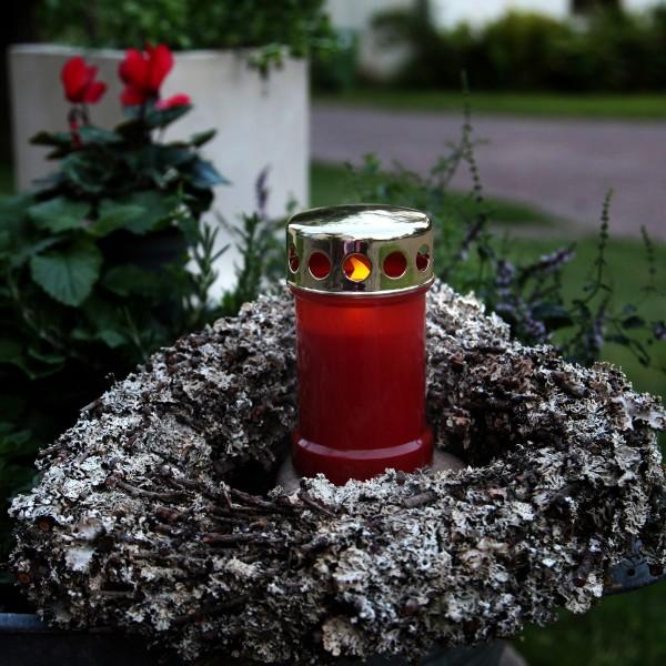 """LED Novenkerze """"Serene"""" - Grabkerze - flackernde gelbe LED - H: 14cm - rot/gold - 12er Set"""