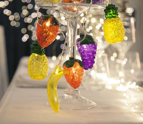 "LED-Lichterkette ""Tutti Frutti"" - 10 bunte Früchte an 1,8m Kabel - warmweiße LED - Batterie - Timer"