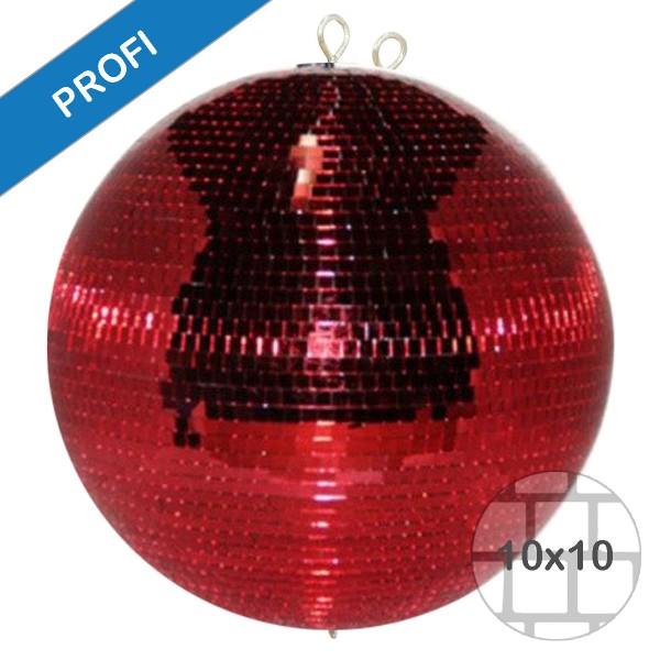 Spiegelkugel 150cm - rot - Diskokugel Echtglas - 10x10mm Spiegel - PROFI Serie