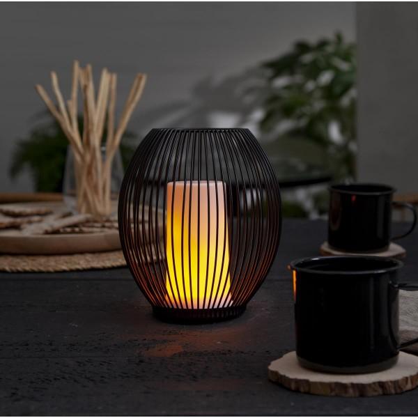 LED Windlicht Kerze DINER Extra - 96 gelbe LED - bewegliche Flamme - H: 13cm - wiederaufladbar - USB