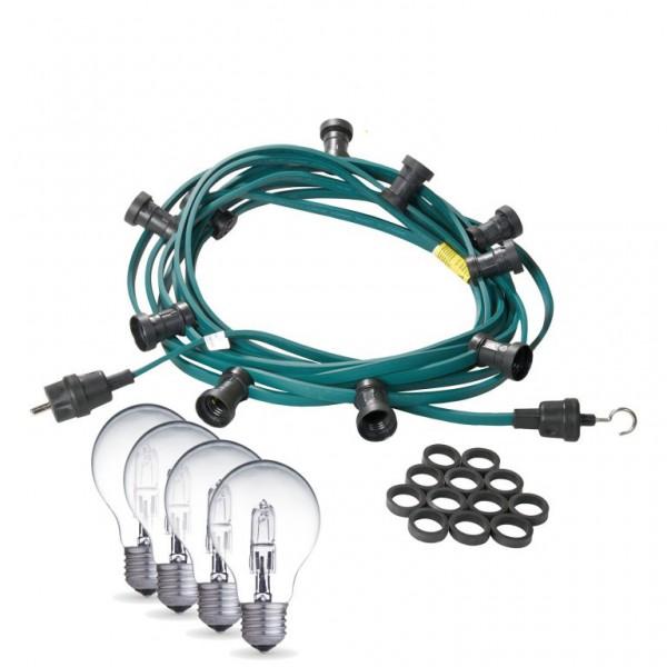 Illu-/Partylichterkette | E27-Fassungen | Made in Germany | mit weißen Glühlampen | 40m | 60x E27-Fassungen