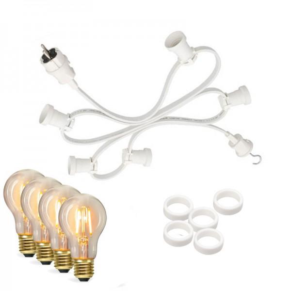 Illu-/Partylichterkette 10m | Außenlichterkette weiß | Made in Germany | 10 x Edison LED Filamentlampen