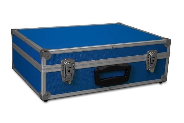 GORANDO® Transportkoffer blau, Alurahmen | 440x300x130mm | Für Werkzeuge, Kameras, Messgeräte etc.