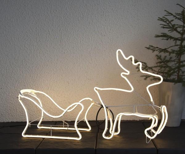 "LED-Silhouette ""Neoled"" Rentier/Schlitten - 720 warmweiße LED - H: 50cm - outdoor"