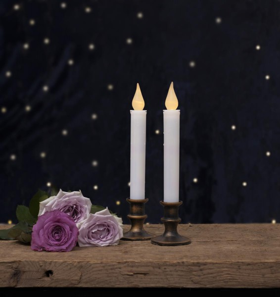 "LED-Kerzen ""Mette"" - antik-bronzener Standfuß - warmweiße LED - H: 23cm - Batterie - Timer - 2er Set"