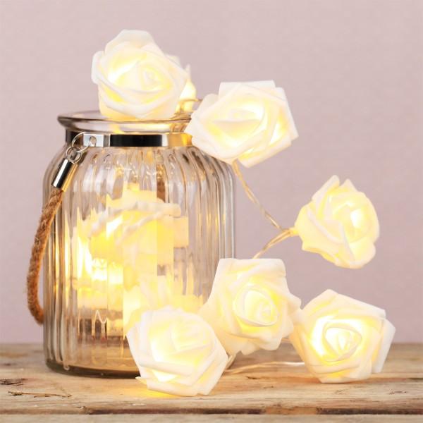 """LED Lichterkette """"Rosen"""" - 10 warmweiße LED - 1,65m - Batteriebetrieb - weiß"""