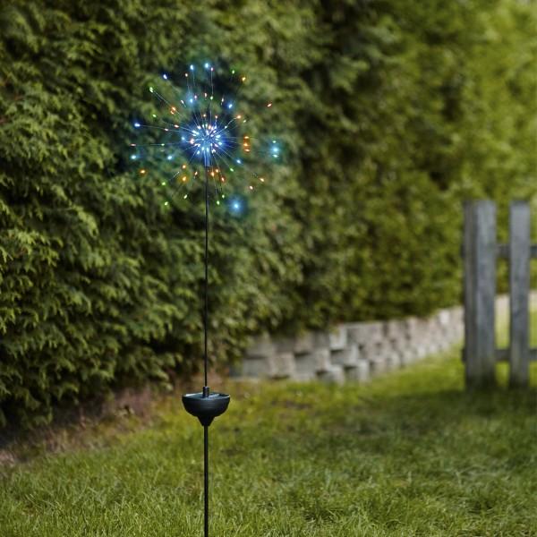 LED Solarstab FEUERWERK Gartendeko - 90 bunte LED - H: 100cm - Dämmerungssensor
