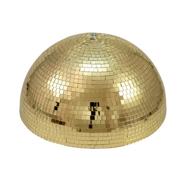 Spiegelkugel halb gold 40cm - für Deckenmontage - Diskokugel Echtglas - 10x10mm Spiegel - PROFI