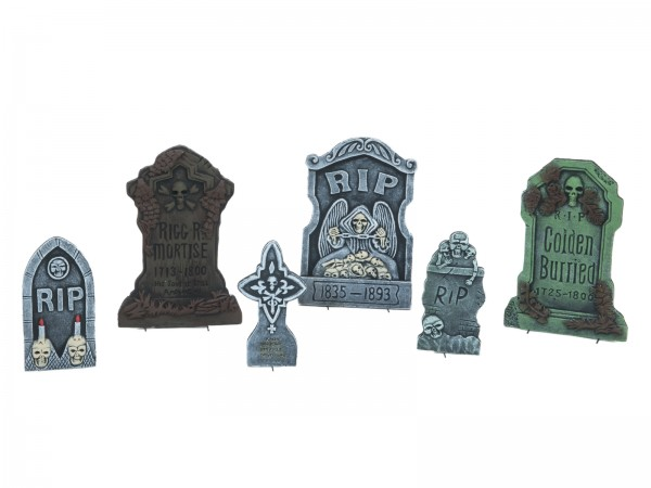 Grabstein-Set 6-teilig - Halloween Friedhof Szene - verschiedene Motive 18-53cm - inkl. Halter