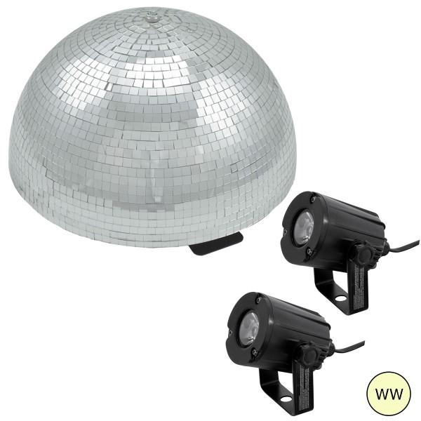 Spiegelkugel Komplettset - Discokugel, Motor, Pinspot, Montagematerial für Diskokugel - Mirrorball Set - Partyset