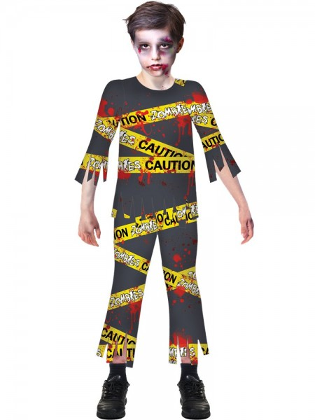 "Halloween Zombie Kostüm - ""CAUTION""  Shirt + Hose - 6-8 Jahre - Aufgedrucktes Warnband"