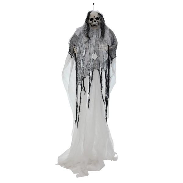 Alte Skelett-Frau weiß, selbstleuchtend - 210cm Halloween Figur - Fluoreszierend