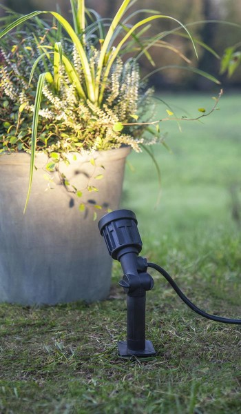 LED Spot Gartenspieß - 230V - 3000K 350lm - 5m Zuleitung - H: 19cm - IP65 Outdoor