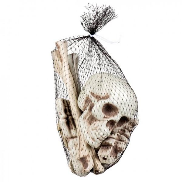 12-teiliges Knochen-Set - 1 Schädel, 7 Knochen, 2 Hände, 2 Füße - 27cm - Halloween Skelett