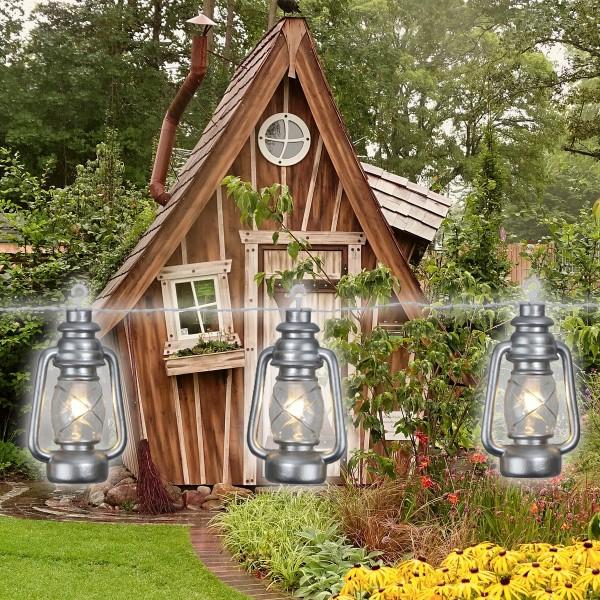 """LED Lichterkette """"Laterne"""" - 8 silberne Laternen mit weißer LED - L: 2,8m - outdoor - mit Haken"""