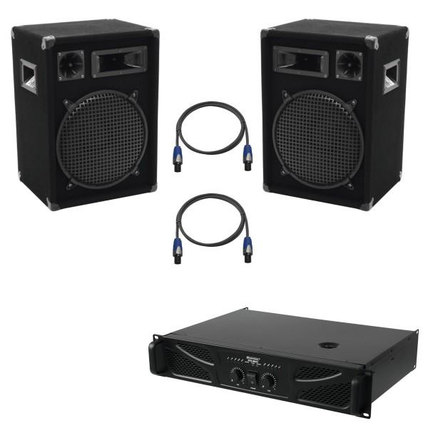 Party Lautsprecherset mit Endstufe und Kabeln - 1200W