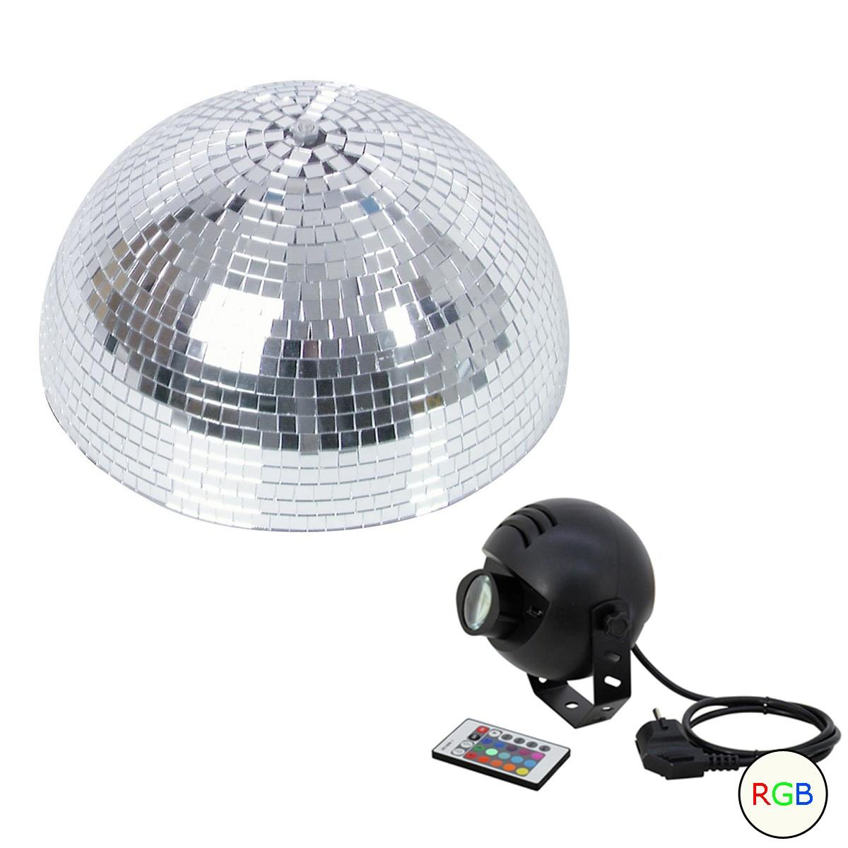 Set Halbspiegelkugel 30cm + 1 x LED Pinspot 9W Farbwechser RGB