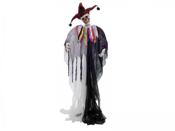 Horror-Clown Figur Harlekin, 210cm - mit Lichteffekten im Gewand - zum Stellen inkl. Ständer