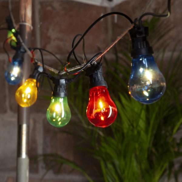 "LED Lichterkette ""CIRCUS"" - 10 Birnen, D: 6cm - bunte Filament LED - 5m - inkl. Trafo - outdoor"