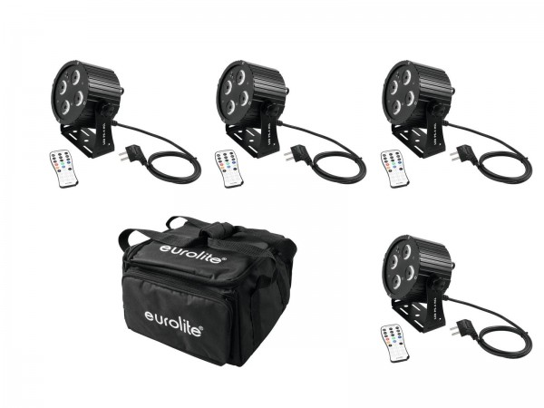 4 mobile LED Scheinwerfer im Set - 4x LED PS-4 HCL Spot - inkl. 4er Soft-Bag (DMX, Auto, Sound, IR)