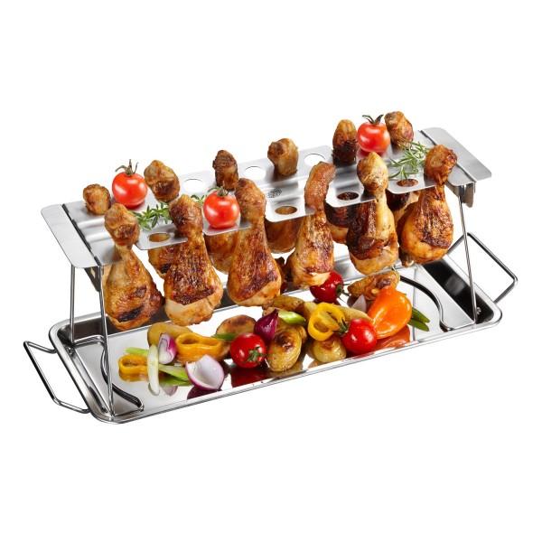 Hähnchenkeulen Rack - Edelstahl - für bis zu 12 Unterkeulen - knusprige Chicken Wings
