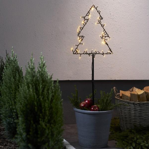 LED Lichterstern Spiky- stehend - H: 90cm - 60 warmweiße LED - Timer - Batterie - Outdoor - schwarz