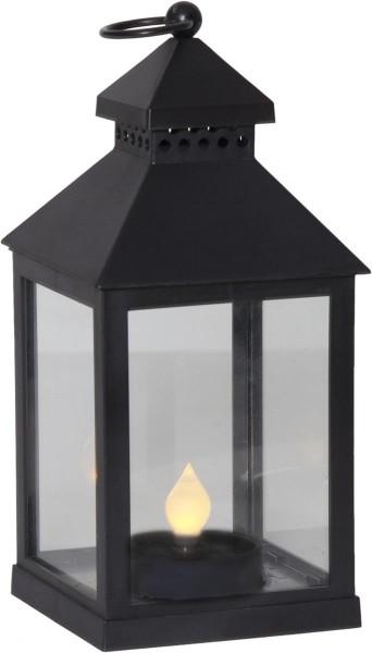 "LED-Solar-Laterne ""Agra"" - schwarz - gelbe LED - H: 23cm - D: 11cm - Dämmerungssensor - outdoor"