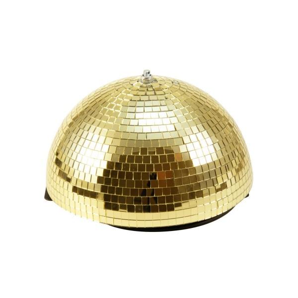 Spiegelkugel halb gold 30cm - für Deckenmontage - Diskokugel Echtglas - 10x10mm Spiegel - PROFI