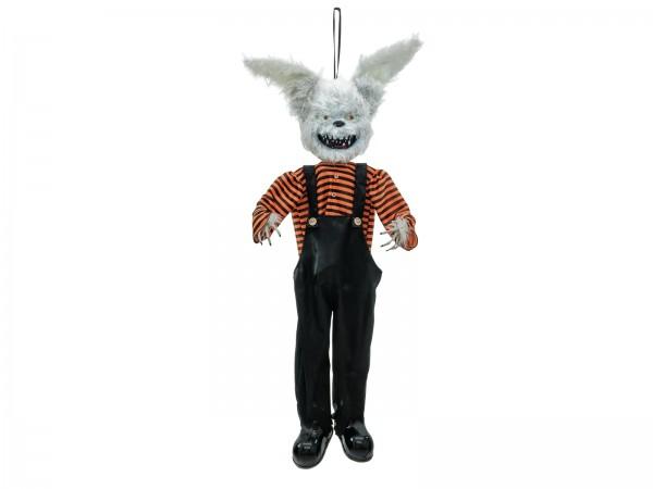 Zappelnder Horrorhase - Halloween  Figur zum Hängen - 140x30x15cm - Akustiksensor - Licht, Geräusche