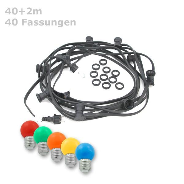 ILLU-Lichterkette BLACKY - 40m - 40xE27 | IP44 | mit bunten LED Kugellampen | SATISFIRE