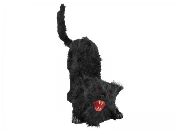 Schwarze Vampirkatze mit Bewegung+Sound+LED-Effekte - lebensgroße Halloween Gruselfigur - 34cm