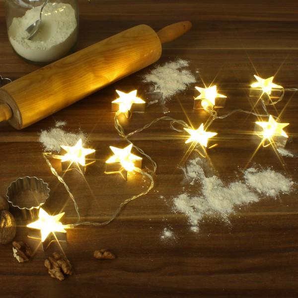 LED Lichterkette mit goldenen Stern Backförmchen - 8 warmweiße LED - Batteriebetrieb - L: 1,4m