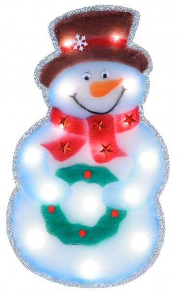 LED-Filzsilhouette Snowman  / Filz & Kunststoff, 15 daylight LEDca. 60 x 35 cm, Batterie, Timer