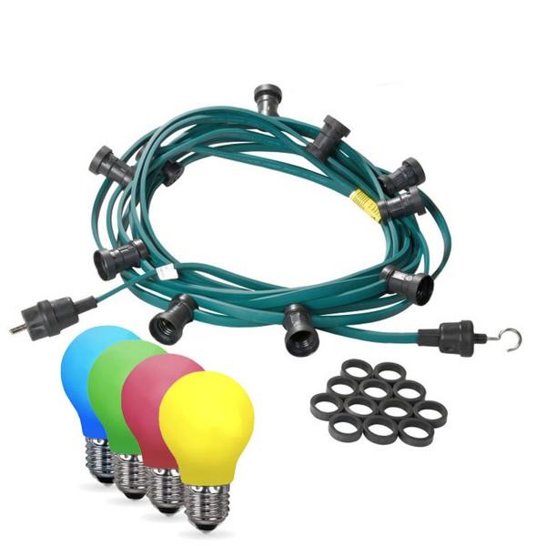 Illu-/Partylichterkette 5m   Außenlichterkette   Made in Germany   10 x bunte LED Tropfenlampe