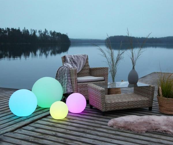 Leuchtobjekt outdoor KUGEL 30cm mit E27 Fassung - warmweißes 1W Leuchtmittel