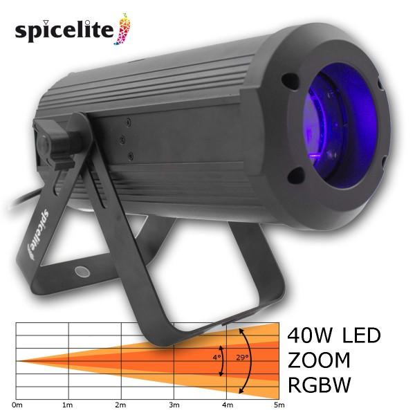 ACE-PAR-40-zoom - starker 40W Punktstrahler mit motorischem Zoom, DMX, 4° bis 29° Zoom Range, RGBW OSRAM LED Chip - Farbwechsel