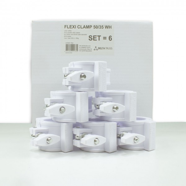 FLEXI CLAMP Set weiß (6 Stück) - Kunststoff-Klammer f. Traversen, Half-Coupler 50/35mm