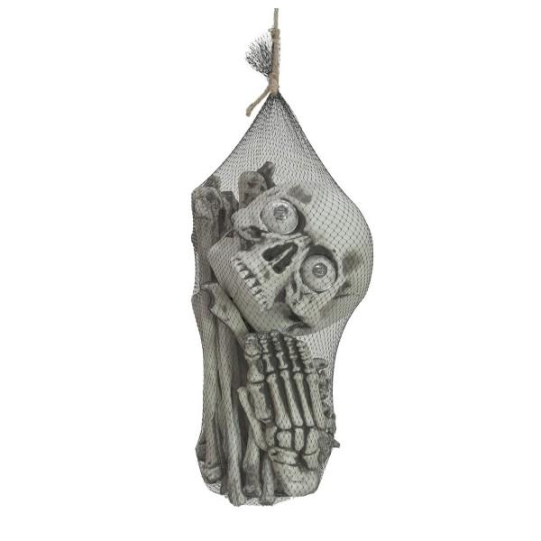 Halloween Tasche mit Knochen und Schädel - Grusel-Halloween-Deko , 17 Knochen