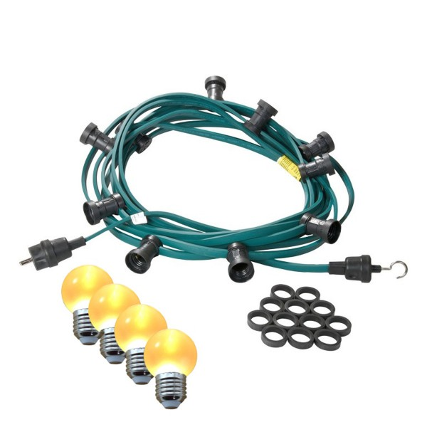 Illu-/Partylichterkette 5m | Außenlichterkette | Made in Germany | 10 x ultra-warmweisse LED Kugeln