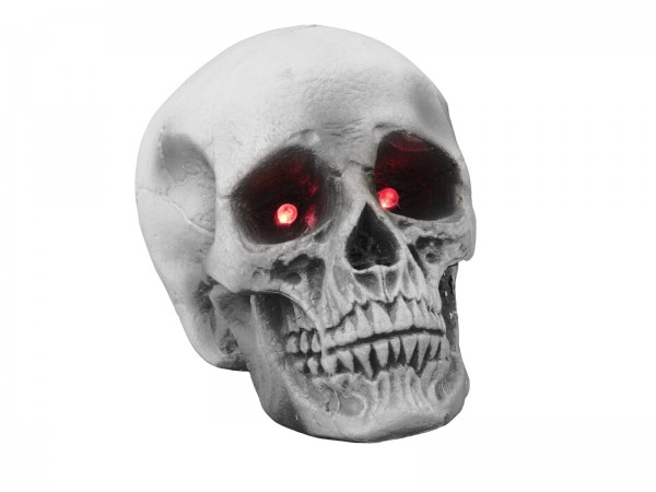 Halloween Schädel - Totenkopf mit pulsierenden Augen - 16cm - Schaumstoff