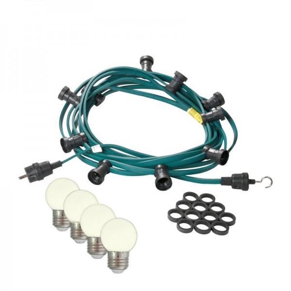 Illu-/Partylichterkette | E27-Fassungen | Made in Germany | mit weißen LED-Lampen | 20m | 40x E27-Fassungen