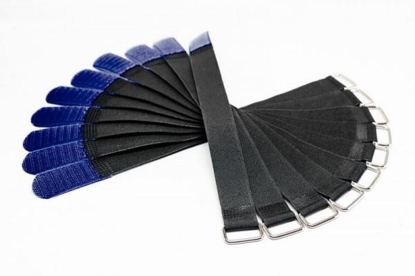 Kabelbinder / Kabelklette - 2,5cm Breit - 30cm lang - Schwarz/Blau - 10 Stück