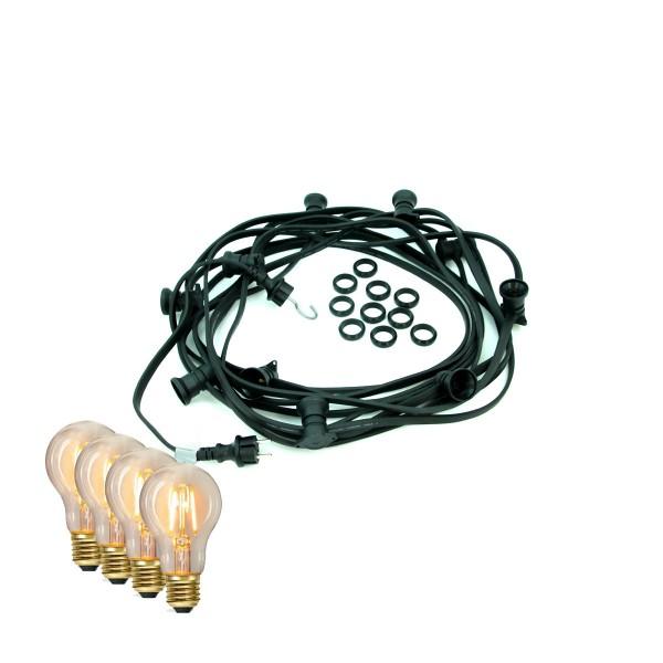 ILLU-Lichterkette BLACKY - 20m - 20xE27 | IP44 | warmweiße EDISON LED Filamentlampen | SATISFIRE