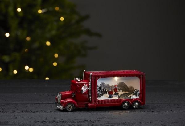 """LED-Weihnachtszene """"Merryville"""" - Santa im Truck - 1 warmweiße LED - H: 9cm - Batteriebetrieb - rot"""