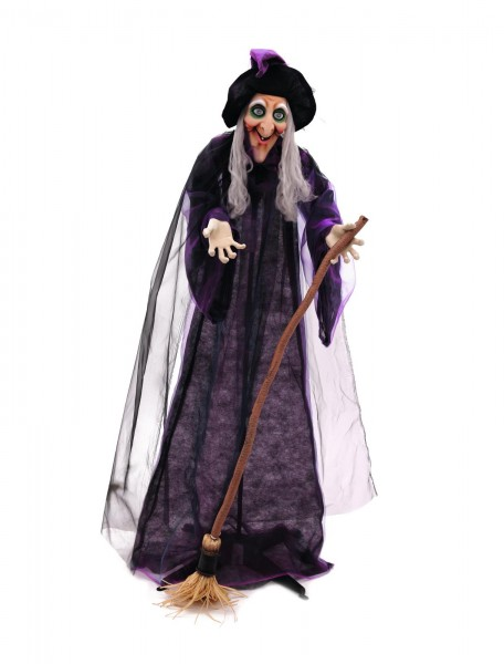 Animierte Hexe, 175cm Halloween-Figur - Kopf bewegt sich, Soundeffekt, Augen leuchten - zum Stellen