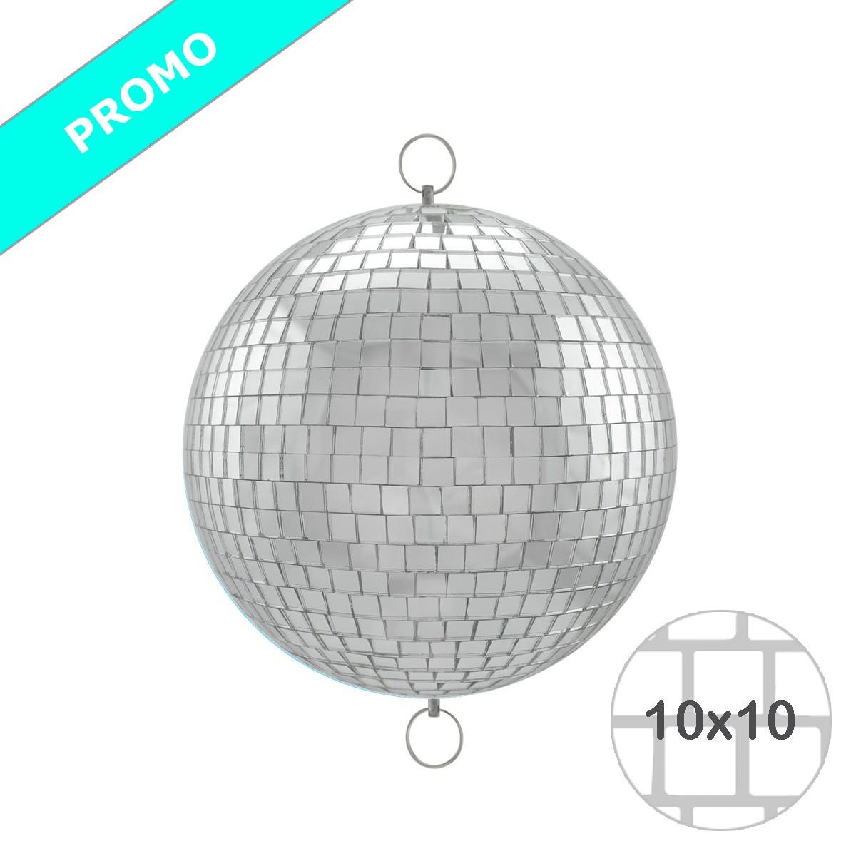 Spiegelkugel 20cm - silber - Diskokugel Echtglas - 10x10mm Spiegel - PROMO - Metallöse oben + unten