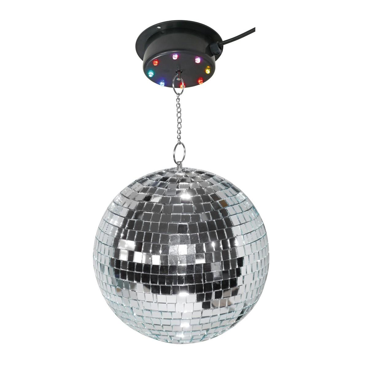 Spiegelkugel Komplettset 20cm mit LED Motor / Farbwechsler - PARTY KIT 20